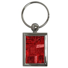 Red Background Patchwork Flowers Key Chains (rectangle)
