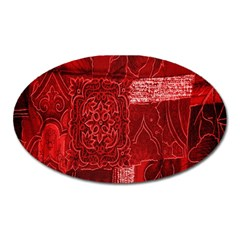Red Background Patchwork Flowers Oval Magnet