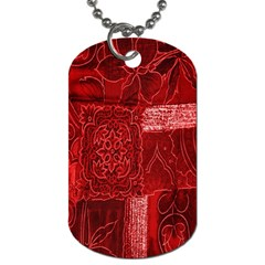 Red Background Patchwork Flowers Dog Tag (One Side)
