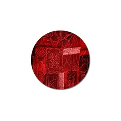 Red Background Patchwork Flowers Golf Ball Marker (4 Pack)