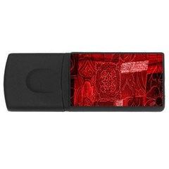 Red Background Patchwork Flowers USB Flash Drive Rectangular (2 GB)