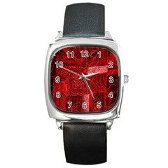 Red Background Patchwork Flowers Square Metal Watch