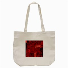 Red Background Patchwork Flowers Tote Bag (Cream)