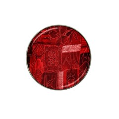 Red Background Patchwork Flowers Hat Clip Ball Marker (4 Pack)