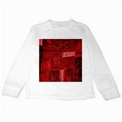 Red Background Patchwork Flowers Kids Long Sleeve T-Shirts
