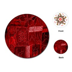Red Background Patchwork Flowers Playing Cards (round)