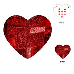 Red Background Patchwork Flowers Playing Cards (Heart)