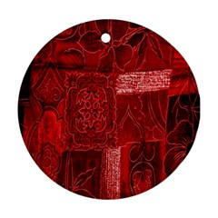 Red Background Patchwork Flowers Round Ornament (two Sides)