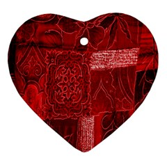 Red Background Patchwork Flowers Heart Ornament (two Sides)