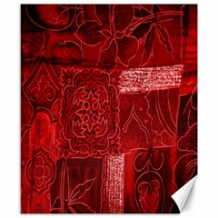 Red Background Patchwork Flowers Canvas 8  X 10