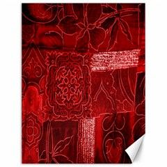 Red Background Patchwork Flowers Canvas 12  X 16