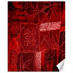 Red Background Patchwork Flowers Canvas 16  X 20