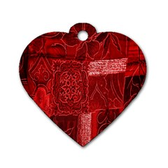 Red Background Patchwork Flowers Dog Tag Heart (Two Sides)