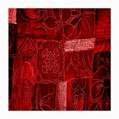 Red Background Patchwork Flowers Medium Glasses Cloth (2 Side)
