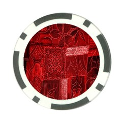 Red Background Patchwork Flowers Poker Chip Card Guard