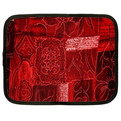 Red Background Patchwork Flowers Netbook Case (large)