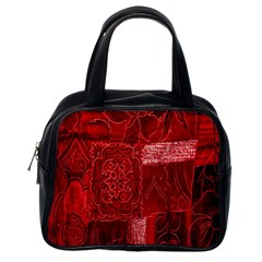Red Background Patchwork Flowers Classic Handbags (one Side)