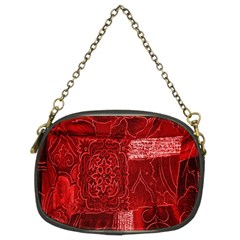 Red Background Patchwork Flowers Chain Purses (Two Sides)
