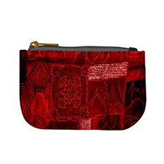 Red Background Patchwork Flowers Mini Coin Purses