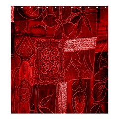 Red Background Patchwork Flowers Shower Curtain 66  x 72  (Large)