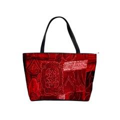 Red Background Patchwork Flowers Shoulder Handbags