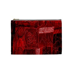 Red Background Patchwork Flowers Cosmetic Bag (Medium)