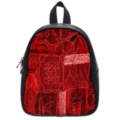 Red Background Patchwork Flowers School Bags (small)