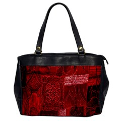 Red Background Patchwork Flowers Office Handbags