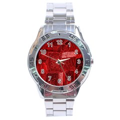 Red Background Patchwork Flowers Stainless Steel Analogue Watch