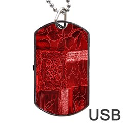 Red Background Patchwork Flowers Dog Tag USB Flash (Two Sides)