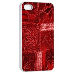 Red Background Patchwork Flowers Apple iPhone 4/4s Seamless Case (White)