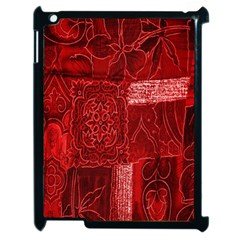 Red Background Patchwork Flowers Apple Ipad 2 Case (black)