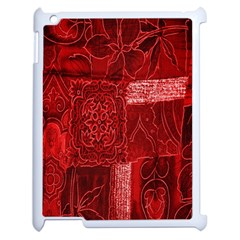 Red Background Patchwork Flowers Apple iPad 2 Case (White)