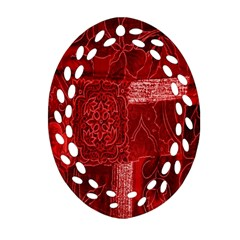 Red Background Patchwork Flowers Oval Filigree Ornament (Two Sides)