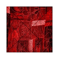 Red Background Patchwork Flowers Acrylic Tangram Puzzle (6  X 6 )