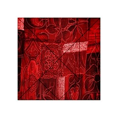 Red Background Patchwork Flowers Acrylic Tangram Puzzle (4  x 4 )