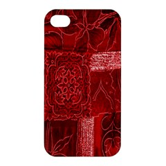 Red Background Patchwork Flowers Apple iPhone 4/4S Premium Hardshell Case