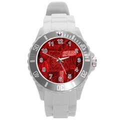 Red Background Patchwork Flowers Round Plastic Sport Watch (L)