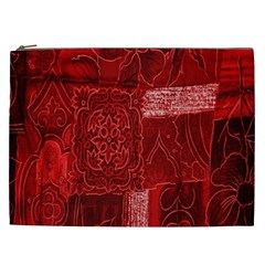 Red Background Patchwork Flowers Cosmetic Bag (XXL)