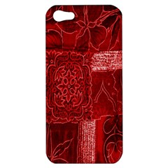 Red Background Patchwork Flowers Apple iPhone 5 Hardshell Case