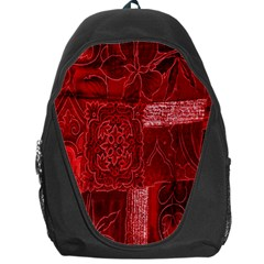 Red Background Patchwork Flowers Backpack Bag