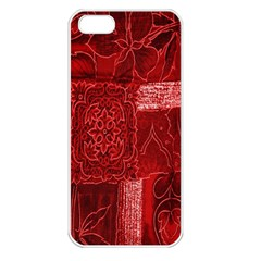 Red Background Patchwork Flowers Apple iPhone 5 Seamless Case (White)