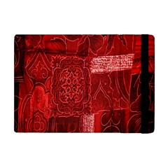 Red Background Patchwork Flowers Apple iPad Mini Flip Case