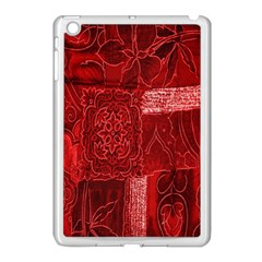 Red Background Patchwork Flowers Apple Ipad Mini Case (white)