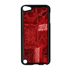 Red Background Patchwork Flowers Apple iPod Touch 5 Case (Black)