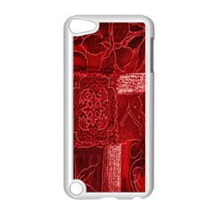 Red Background Patchwork Flowers Apple iPod Touch 5 Case (White)