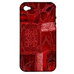 Red Background Patchwork Flowers Apple Iphone 4/4s Hardshell Case (pc+silicone)