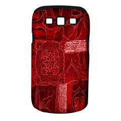 Red Background Patchwork Flowers Samsung Galaxy S III Classic Hardshell Case (PC+Silicone)