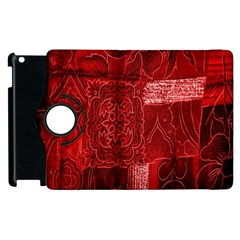 Red Background Patchwork Flowers Apple Ipad 3/4 Flip 360 Case