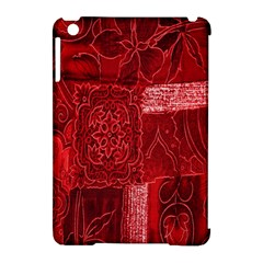 Red Background Patchwork Flowers Apple Ipad Mini Hardshell Case (compatible With Smart Cover)